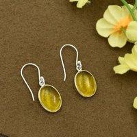 Silvesto India Natural Citrine Quartz Oval Gemstone Earring 925 Sterling Silver Dangle Drop Fashion Earring