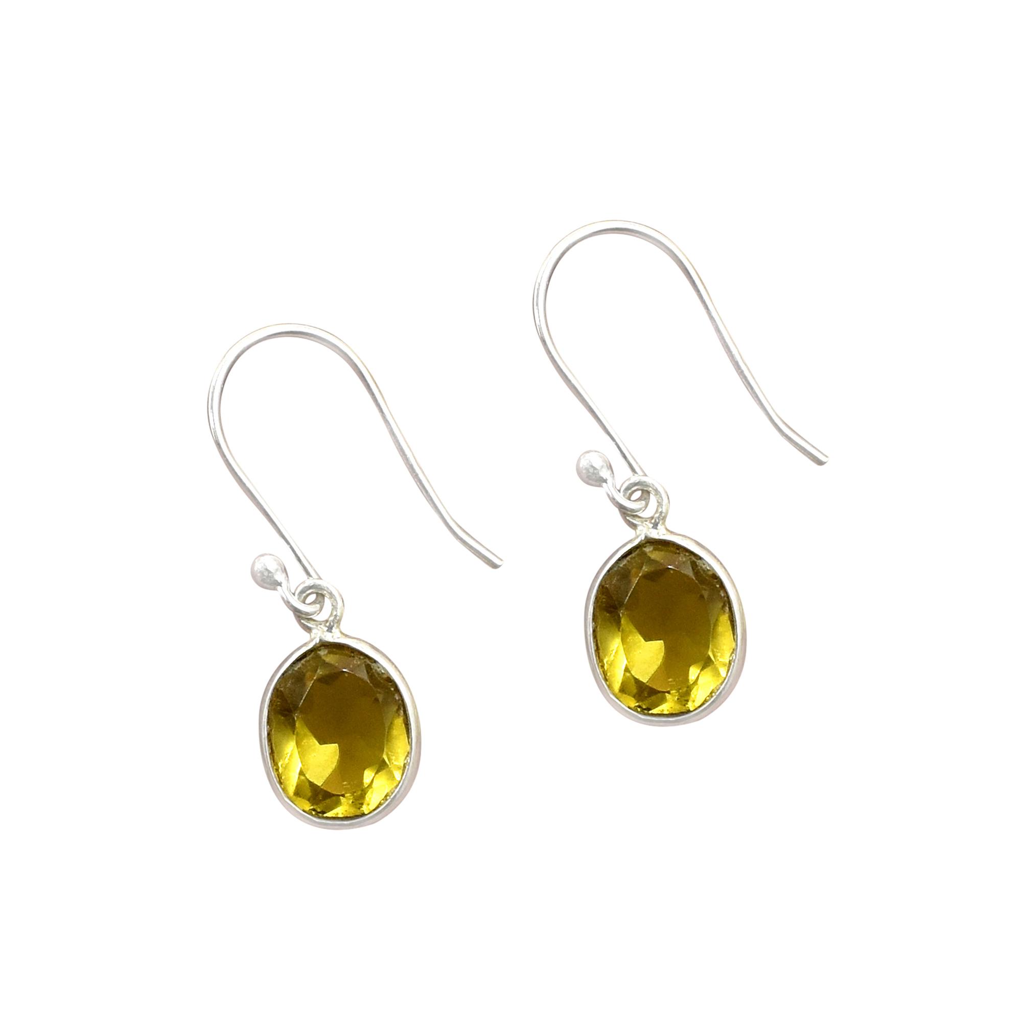 Silvesto India Natural Citrine Quartz Gemstone Earring 925 Sterling Silver Dangle Drop Fashion Earring
