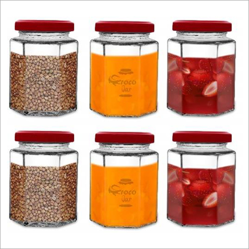 Croco Hexagon Glass Jar