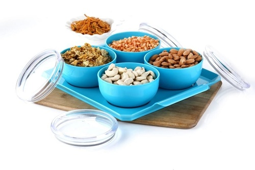 4 Pcs Dry Fruit Air Tight Bowl With Tray