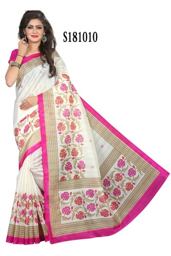 flower print silk saree