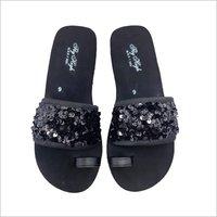 Ladies Fancy Black Slipper
