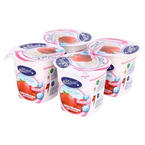 Riches yogurt with fiber Mix strawberries 110 grams x 4 cups