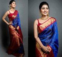 Party Wear Soft Lichi Silk Saree