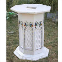 White Marble Inlay Table Stands