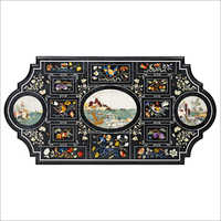 Decorative Black Marble Inlay Dining Table Top