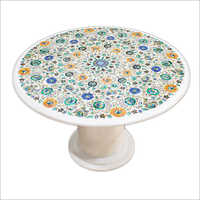 Marble Inlay Round Coffee Table Top