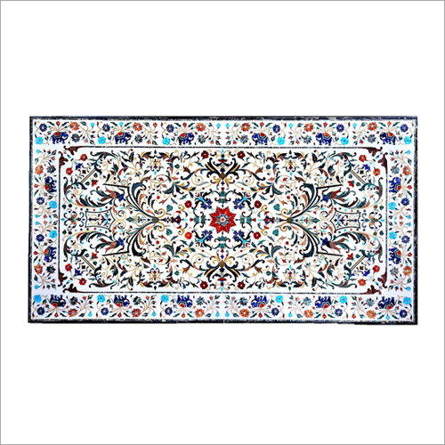 Decorative White Marble Inlay Dining Table Top