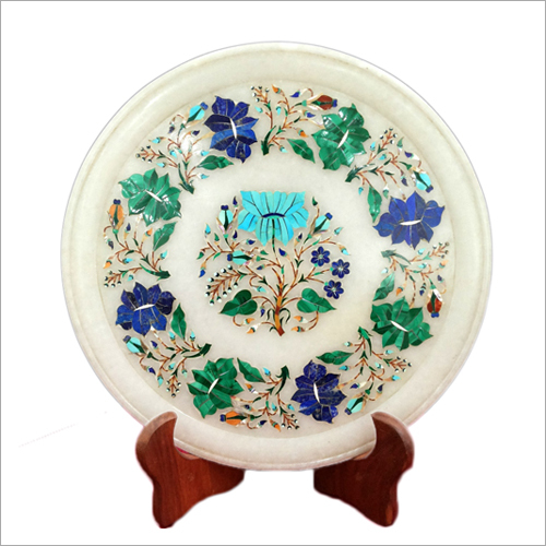 Marble Inlay Decorative Round Plates