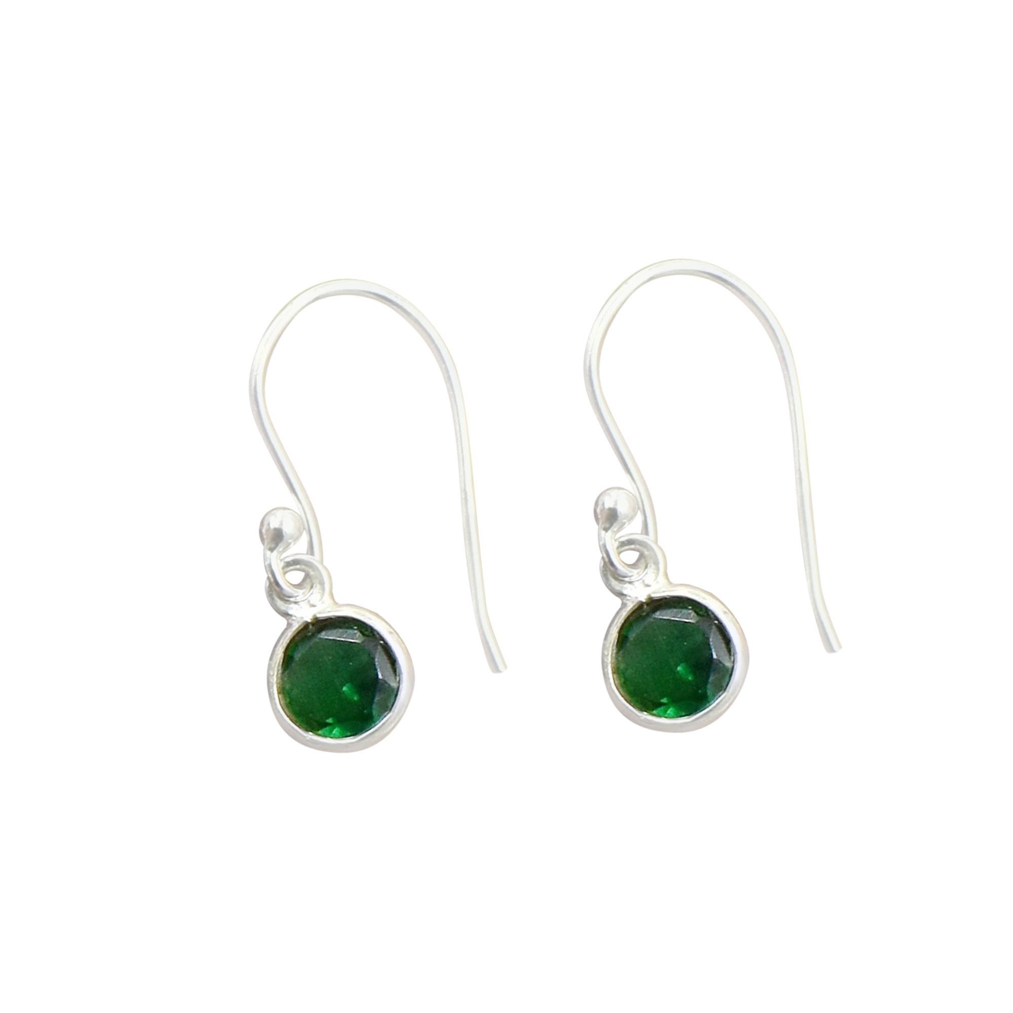 Amazing Green Quartz Gemstone Tiny Earring 925 Sterling Silver Dangle Drop Fashion Earring Minimalist Jewelry