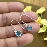 Silvesto India Natural Blue Quartz Round Gemstone Earring 925 Sterling Silver Dangle Drop Fashion Earring