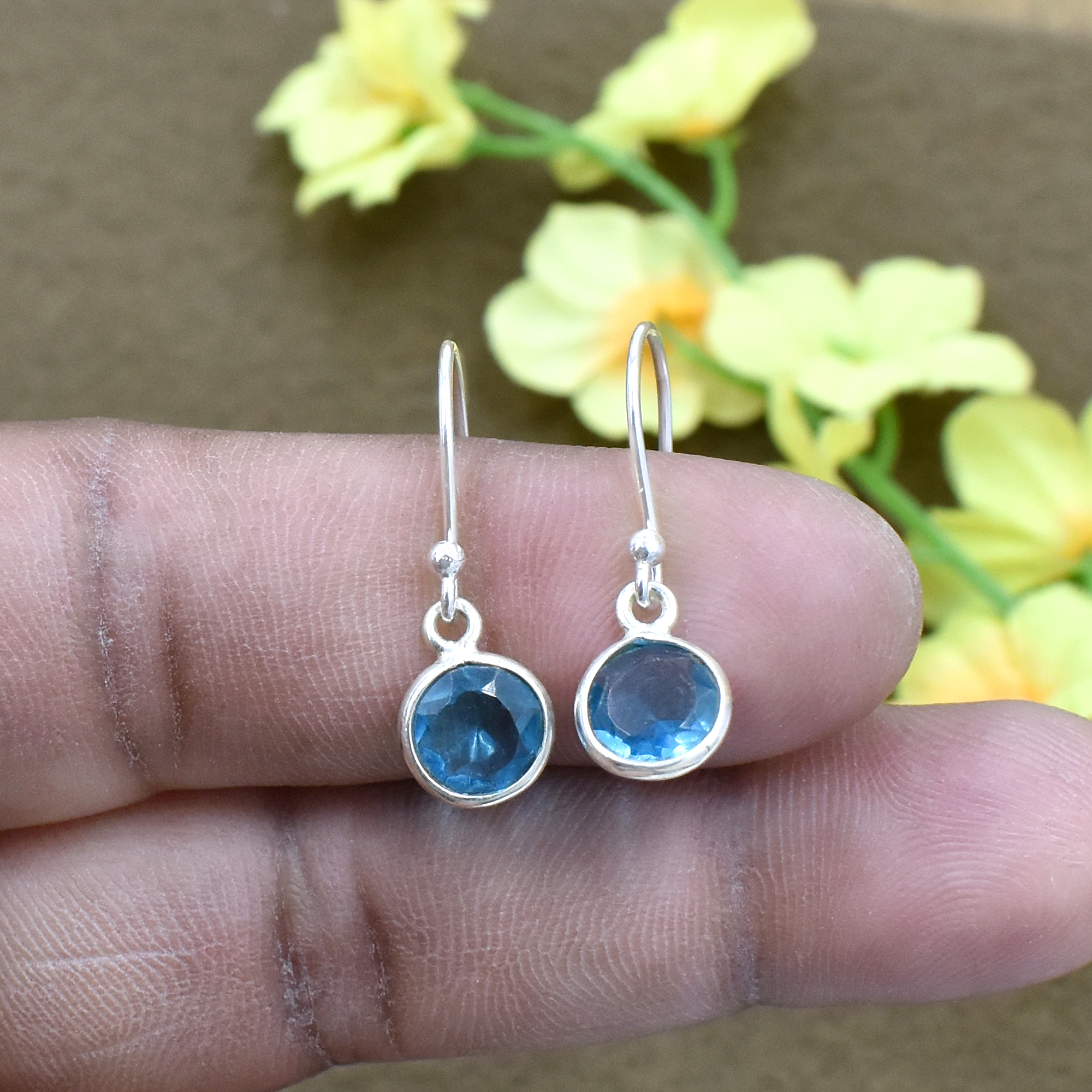 Silvesto India Natural Blue Quartz Round Gemstone Earring 925 Sterling Silver Dangle Drop Fashion Earring
