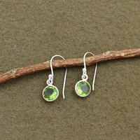 Natural Peridot Quartz Round Midi Gemstone Earring 925 Sterling Silver Dangle Drop Fashion Earring