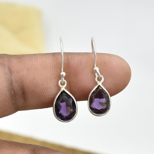 Natural Purple Amethyst Quartz Pear Shape Gemstone Earring 925 Sterling Silver Dangle Drop Fashion Earring Gender: Women