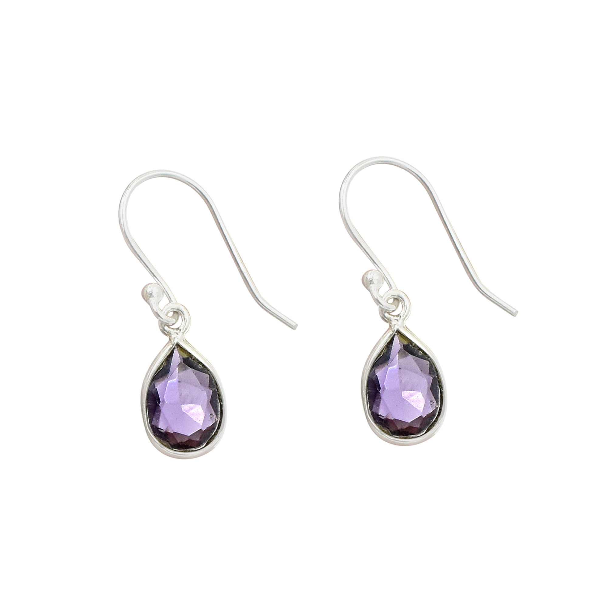 Natural Purple Amethyst Quartz Pear Shape Gemstone Earring 925 Sterling Silver Dangle Drop Fashion Earring