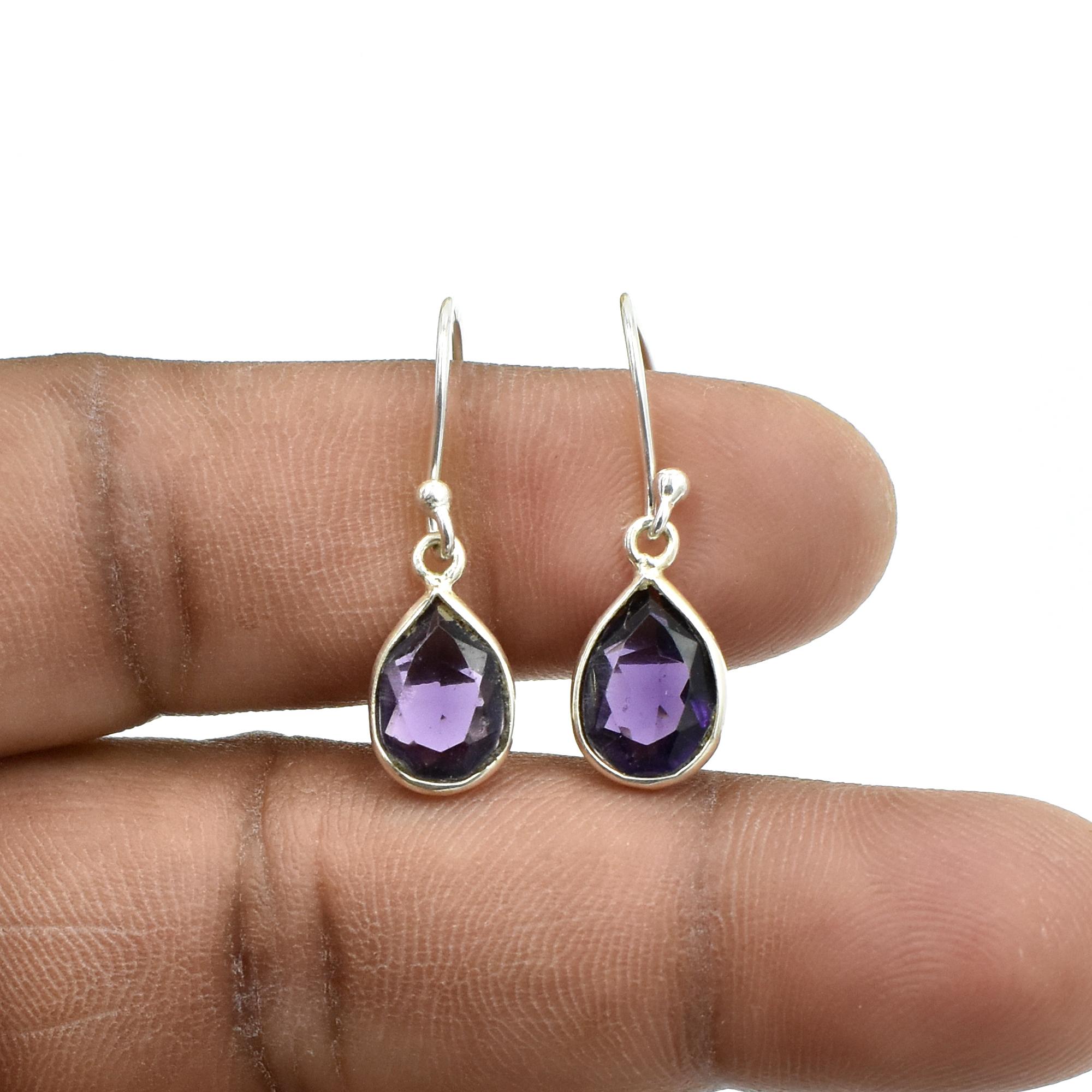 Natural Purple Amethyst Quartz Pear Shape Gemstone Earring 925 Sterling Silver Dangle Drop Fashion Earring