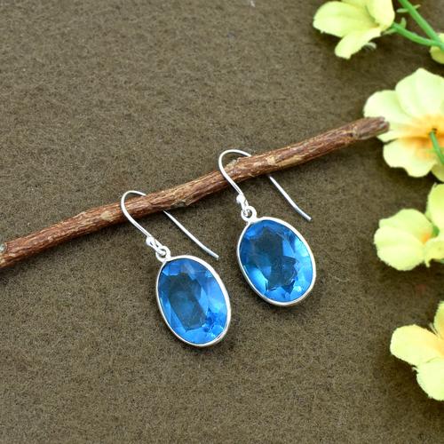 Natural Blue Quartz Oval Gemstone Earring 925 Sterling Silver Dangle Drop Fashion Earring