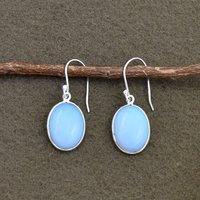 Natural Opal Quartz Oval Shape Gemstone Earring 925 Sterling Silver Dangle Drop Fashion Earring