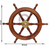Nautical Wooden Ship Wheel 24 Inch Ship Wheel For Boat and Ship Steering, Home Wall Decor item