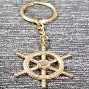 Brass Nautical Ship Wheel Keychain