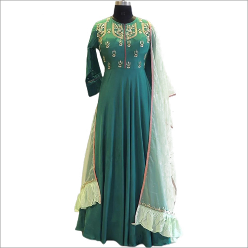 Muslin Long Festive Wear Gown