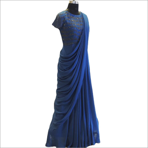 Georgette Draped Cocktail Saree Gowns