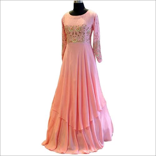 Designer Muslin Long Layered Gown