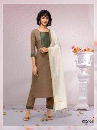 Ruhani  Designer Straight Cotton Kurti Pant With Dupatta