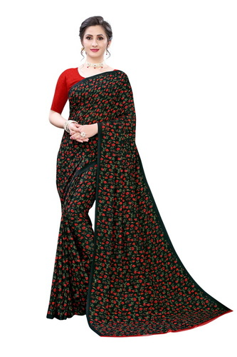 Black And Red Green Color Rad Blows Georgette  Saree