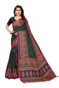 Linen Mirror Work Saree