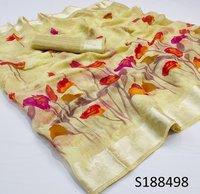 Satin Flower Printed Saree