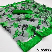 Flower Print  Green Saree