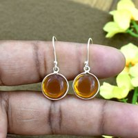 Attractive Yellow Citrine Quartz Round Gemstone Earring 925 Sterling Silver Dangle Drop Fashion Earring