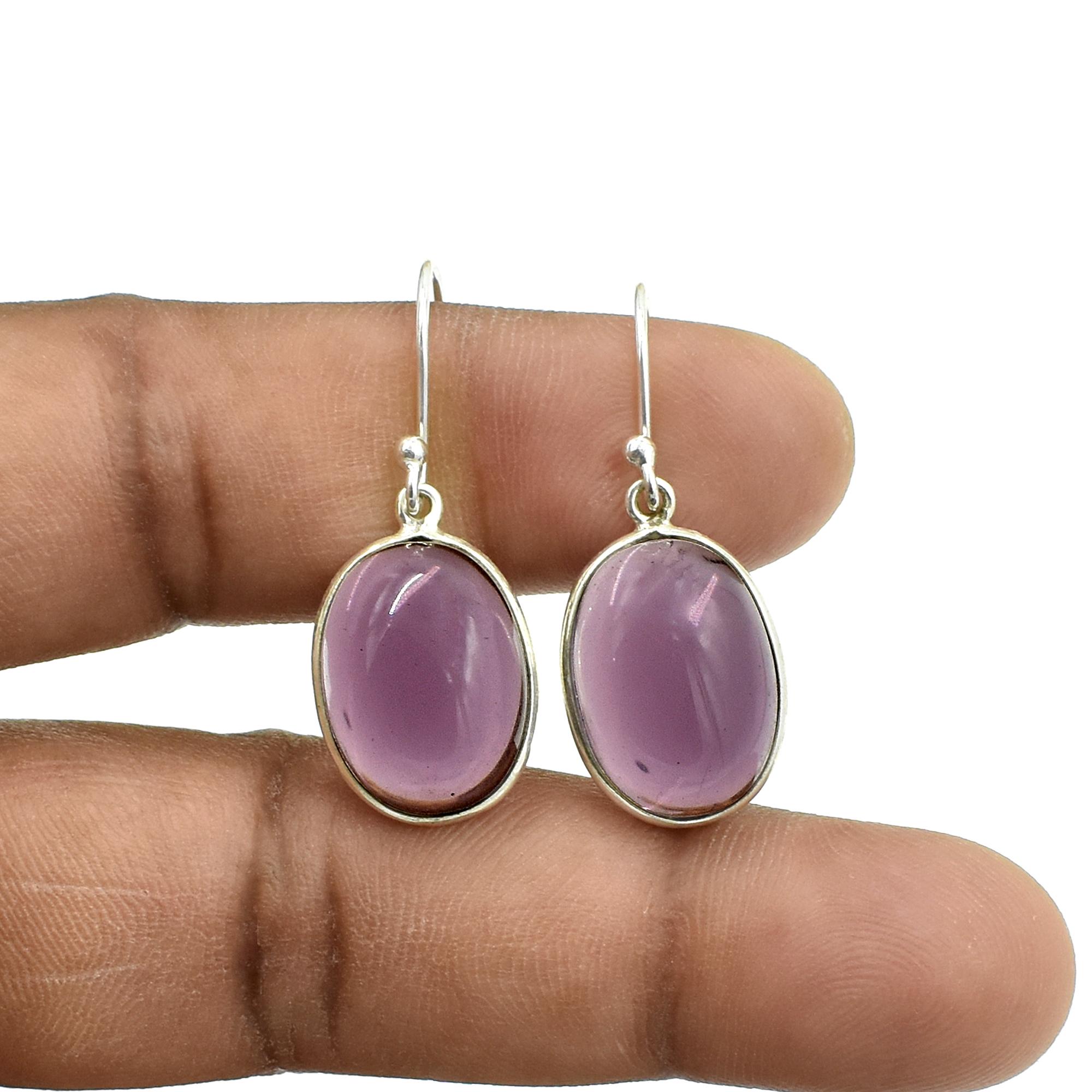 Purple Amethyst Quartz Oval Shape Gemstone Earring 925 Sterling Silver Dangle Drop Fashion Earring