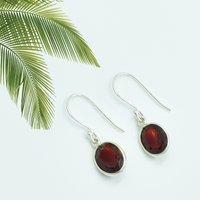 Amazing Garnet Quartz Round Shape Gemstone Earring 925 Sterling Silver Dangle Drop Fashion Earring