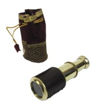 High Quality 5 Inch Brass Retractable Telescope with Pouch Nautical Brass Pullout Telescope Marine Pirate Telescope Collectible Gift
