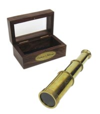 Captains Telescope Full Brass 6 Inch with Wood & Glass Box Collectible Marine Nautical Gift