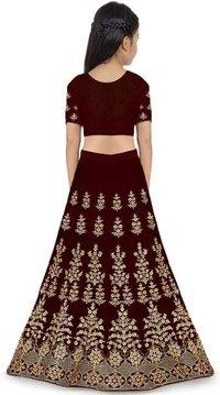 Girls Lehenga Choli Ethnic Wear Embroidered Lehenga, Choli And Dupatta Set  (Maroon)