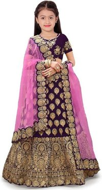Girls Lehenga Choli Ethnic Wear Embroidered Lehenga, Choli and Dupatta Set  (Purple,03)