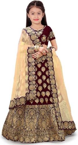Girls Lehenga Choli Ethnic Wear Embroidered Lehenga, Choli And Dupatta Set  (Maroon,04)