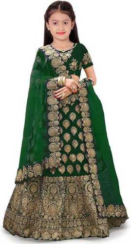 Girls Lehenga Choli Ethnic Wear Embroidered Lehenga, Choli And Dupatta Set  (Green,05)