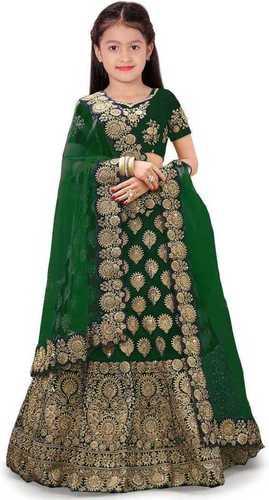 Girls Lehenga Choli Ethnic Wear Embroidered Lehenga, Choli And Dupatta Set  (Green,05)