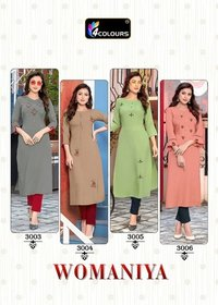 Womaniya Heavy Handwork On 100% 14- Kg Rayon Kurtis