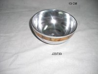 Aluminum Metal Bowl With Bone Inlay
