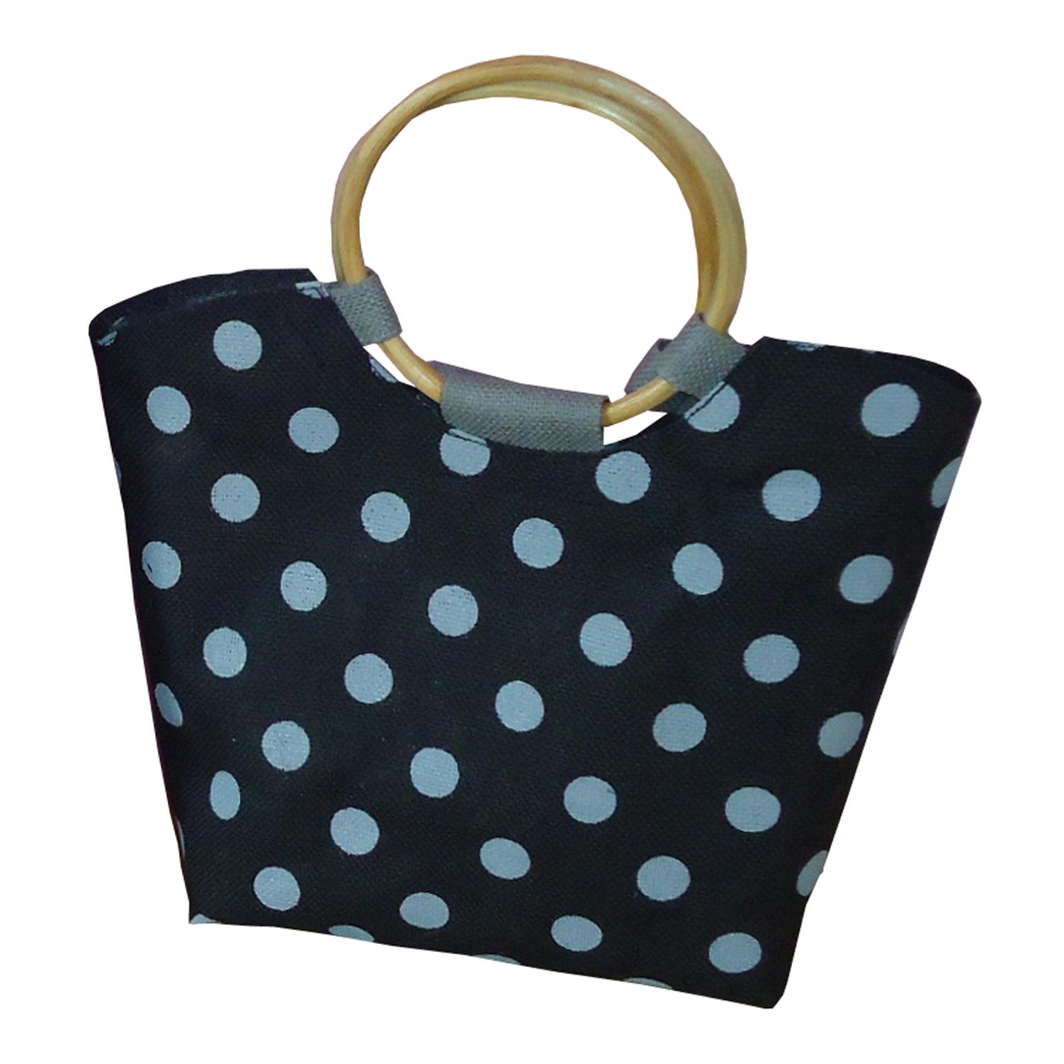 PP Laminated Jute Beach Bag With Dot Print