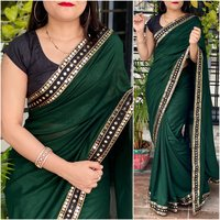 Ladies Heavy Vichitra Silk Saree With Sequance Lace Border