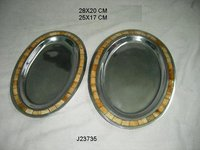 Aluminum Metal Oval Tray With Bone Inlay