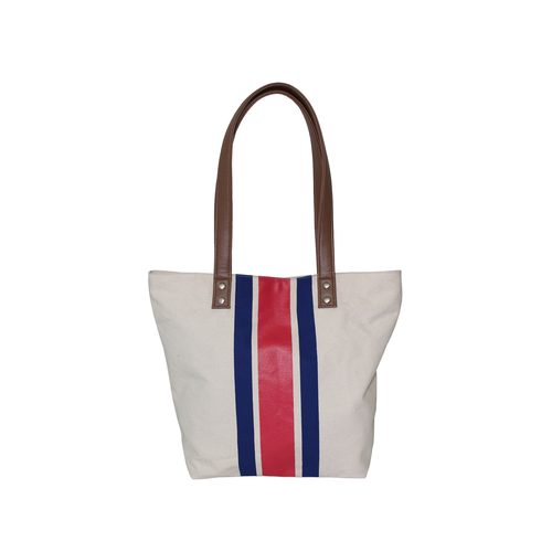 12 Oz Natural Canvas Tote Bag With Immitation Leather Handle