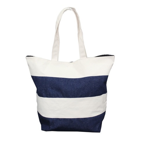 12 Oz Natural Canvas / Denim Fabric Tote Bag With Inside Polyester Lining