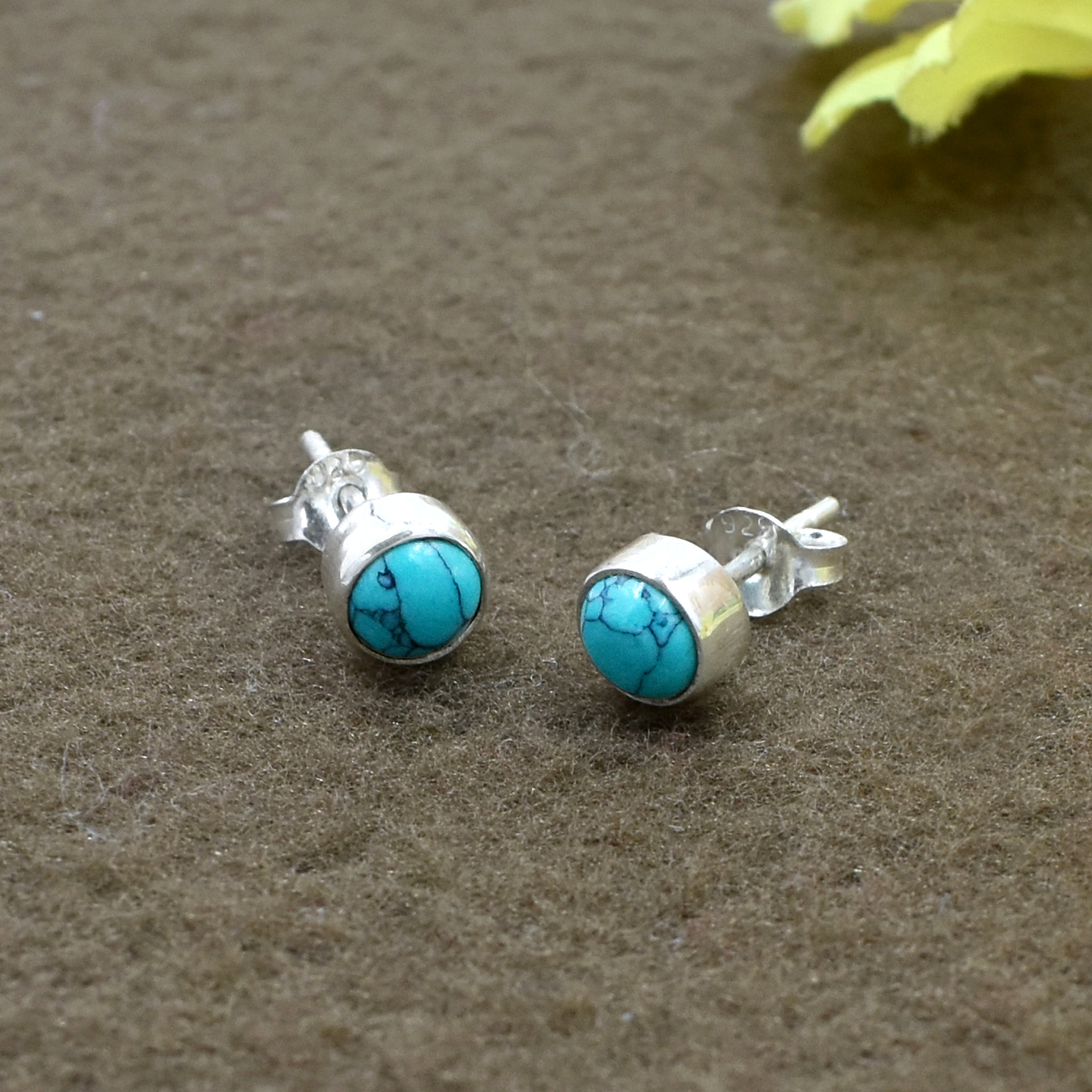 Attractive Turquoise Round Gemstone 925 Sterling Silver Post Stud Earring For women & Girls